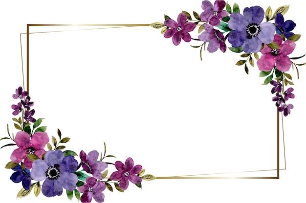 Violetter blumenrahmenhintergrund mit aquarell