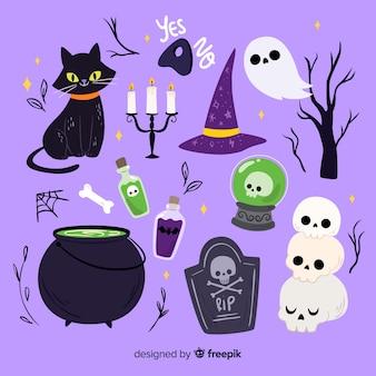 Violetter hintergrund der flachen halloween-elementsammlung