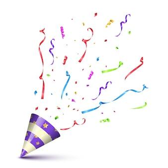 Violetter partykegel mit explodierenden serpentinen und konfetti isoliert auf weißem hintergrund