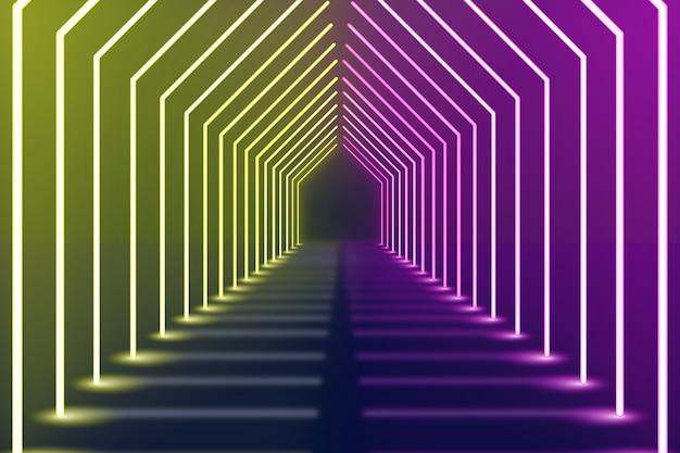 Violetter und gelber gebogener neonlichthintergrund