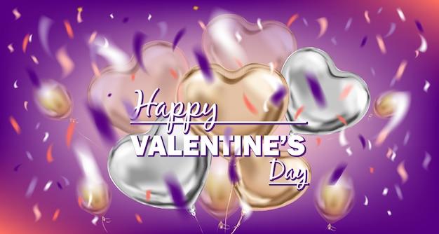 Violettes bild des glücklichen valentinsgruß-tages mit folienluftballonen