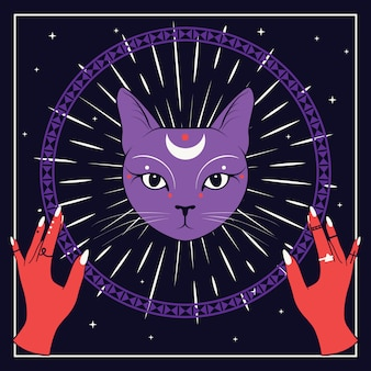 Violettes katzengesicht mit mond auf nächtlichem himmel mit dekorativem rundem rahmen. rote hände