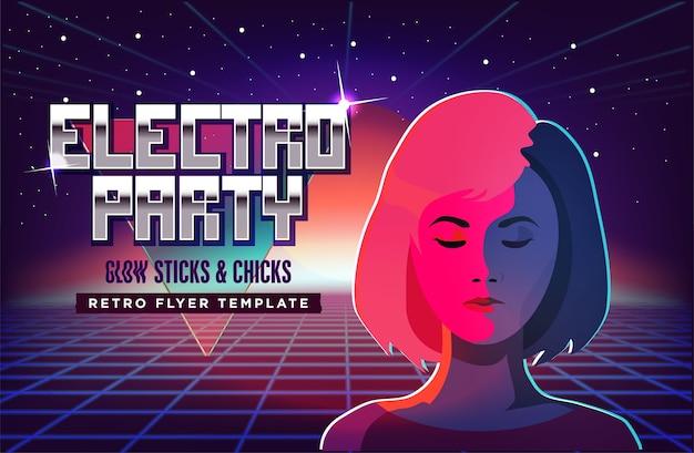 Violettes neonmodemädchen gegen retro- sci-fi hintergrund 80s