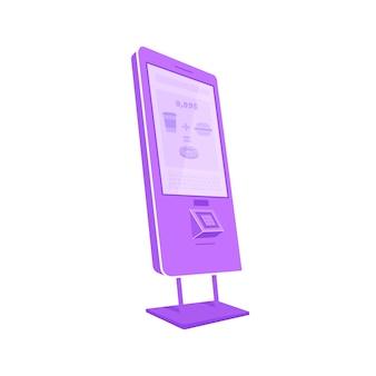 Violettes selbstbedienungskiosk, flaches farbobjekt. e-commerce-gerät mit touchscreen. isolierte karikaturillustration des interaktiven bankterminals für webgrafikdesign und -animation