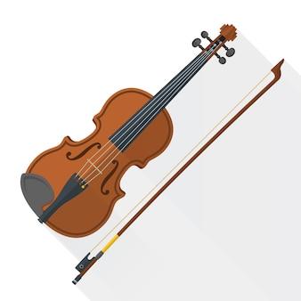 Violine geigenbogen auf weiß