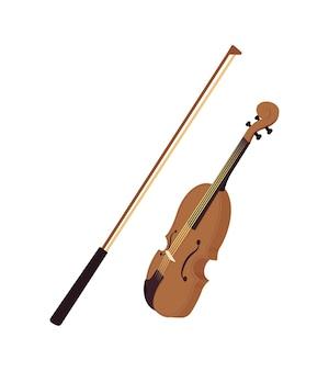 Violine mit bogen halb flaches farbvektorobjekt