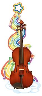 Violine mit melodiesymbolen auf regenbogenwelle