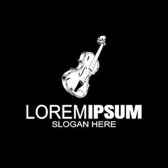 Violinenmusikinstrument mit bogen. music store logo label. .