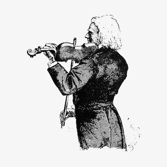 Violinist vintage zeichnung