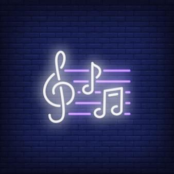 Violinschlüssel und Anmerkungen Leuchtreklame
