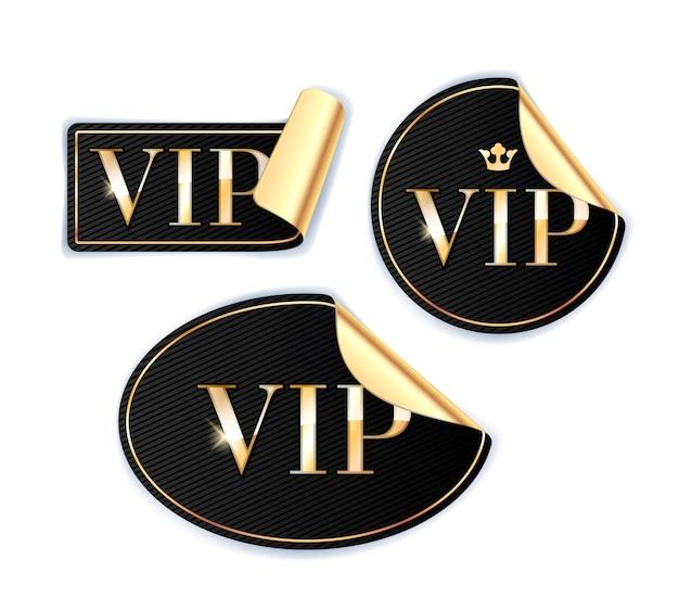 Vip-aufkleber mit goldener rückseite. schwarze farbe.