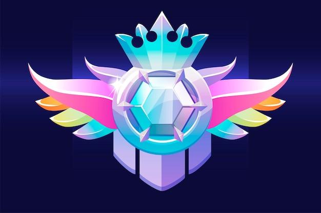 Vip award badge mit edelstein, ein preis mit einer diamantkrone für ui-spiele. vector illustration luxussymbol belohnung gewinner für grafikdesign.