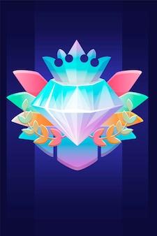 Vip award diamond, preis mit kronenabzeichen für ui-spiele. vector illustration luxussymbol belohnung gewinner, reicher kristall für grafikdesign.