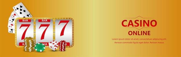 Vip-casino-online-glücksspiel mit spielkarte mit realistischem spielautomat und spielkarten Premium Vektoren