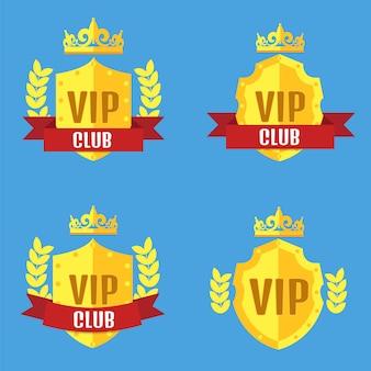 Vip-club-logo im flachen stil