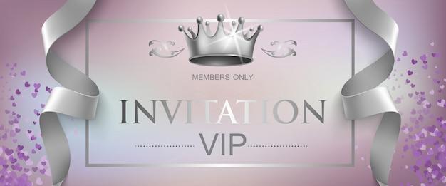 Vip-einladungs-schriftzug mit silberkrone