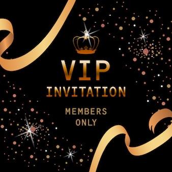 Vip-einladungsbeschriftung mit goldener krone und bändern