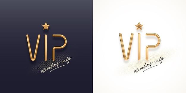Vip-einladungsschablone mit goldenem metall-vip-zeichen der goldenen buchstaben 3d