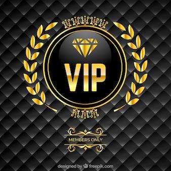 Vip gepolsterter hintergrund mit goldenem logo