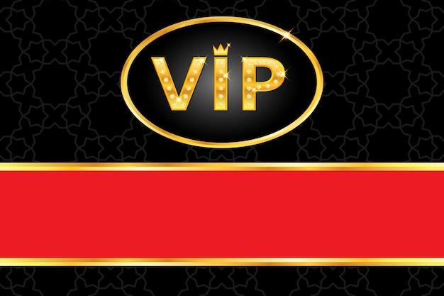 Vip-hintergrund mit glänzendem goldtext mit krone und glühenden diamanten, rahmen, roter streifen auf schwarzem arabischem muster. premium- und luxus-banner oder einladungsvorlagendesign. vektor-illustration.
