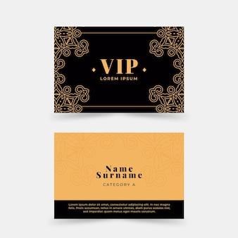 Vip-karten im flachen design mit goldenen details