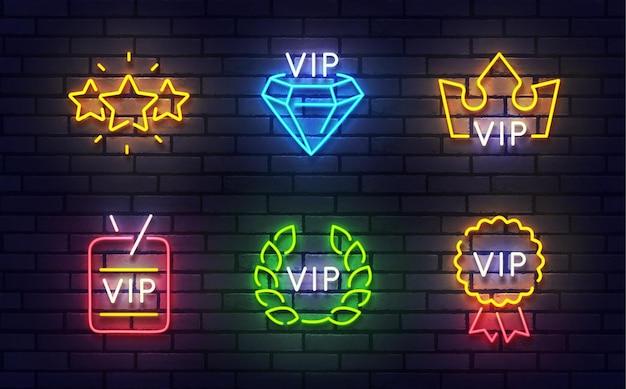 Vip leuchtreklame Premium Vektoren