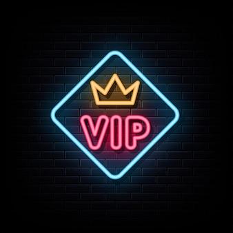 Vip-neon-logo-zeichen-textvektor
