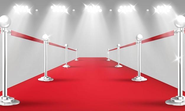 Vip roter teppich und goldene barrieren realistische 3d-vektorillustration