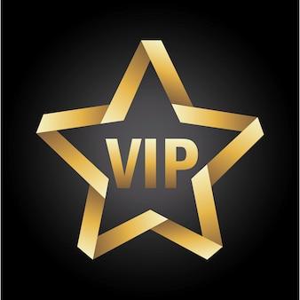 Vip-stern-symbol über schwarzem hintergrund vektor-illustration