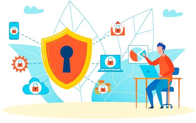 Virenschutz, der verschiedene aspekte von online schützt