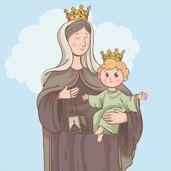 Virgen del carmen illustration
