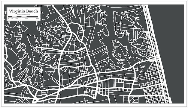 Virginia beach usa stadtplan im retro-stil. übersichtskarte. vektor-illustration.