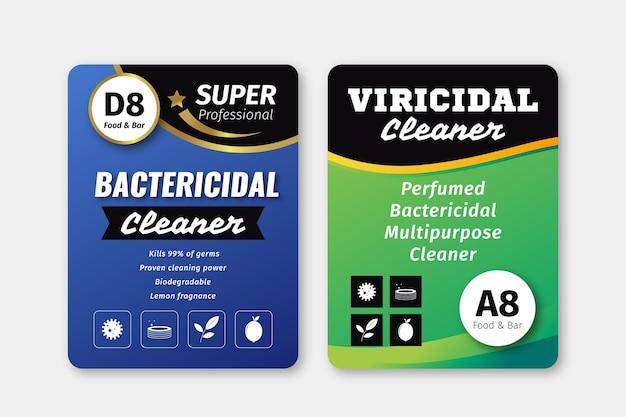 Virizide und bakterizide reinigeretiketten