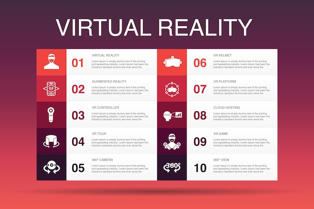 Virtual reality 10-optionsvorlagevr-helm augmented reality 360-ansicht vr-controller-symbole