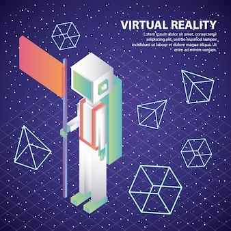 Virtual reality astronaut mit flagge 3d-figuren