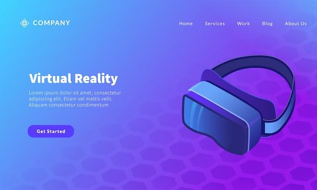Virtual-reality-brille für website-vorlage oder landing-homepage-banner