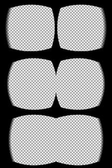 Virtual-reality-brille überlagert den transparenten hintergrund. blick vom vr-helm. vektor, vorlage, isoliert, eps 10.