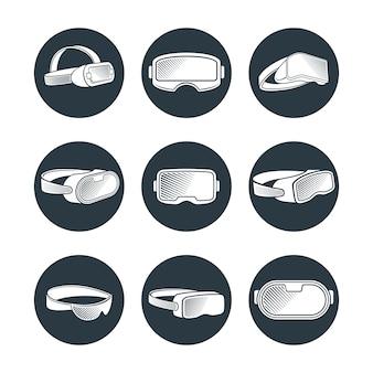 Virtual-reality-brillen und helme symbole gesetzt