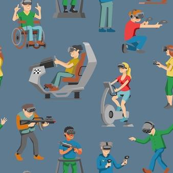 Virtual-reality-charakter-spieler mit vr-brille und person, die in der virtuallisierungstechnologie-illustrationsmenge von personen spielt, die im virtuellen spiel spielen