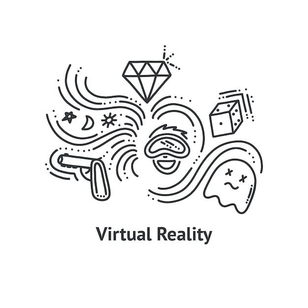 Virtual-reality-druck im doodle-stil. umriss-vektor-illustration