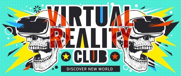 Virtual reality flyer mit totenköpfen