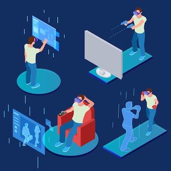 Virtual-reality-gaming, sportliches, entspannendes isometrisches konzept