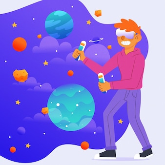 Virtual-reality-headset-raum und planetenkonzept