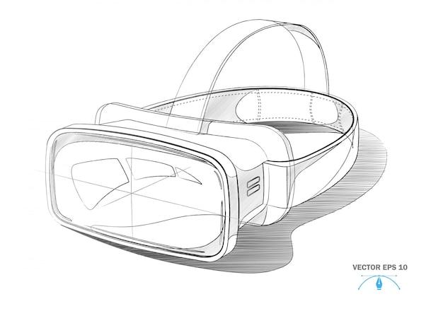 Virtual-reality-headset, vr-masken-blaupause