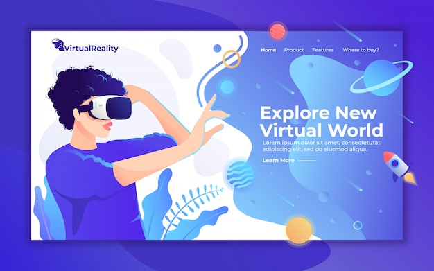 Virtual reality homepage, frau mit vr-headset-illustration für landingpage-website