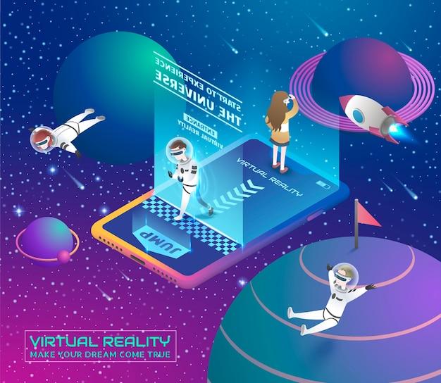 Virtual-reality-konzept im isometrischen projektionsstil