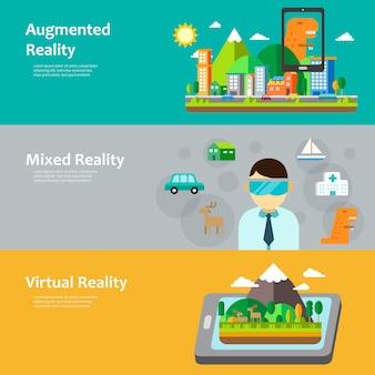 Virtual-reality-konzeptsammlung im flachen stil