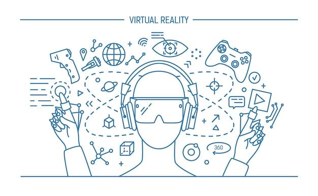 Virtual reality lineart banner. konturillustration.