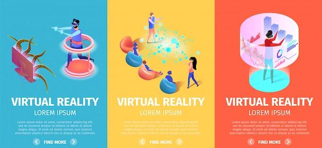 Virtual reality set vertikale banner. vr-spiele