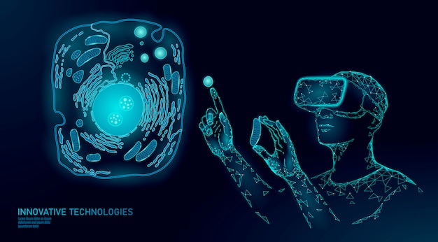 Virtual-reality-zellheilung der modernen medizin. künstliche zelle 3d-synthese tier mensch designer zellbiochemie.